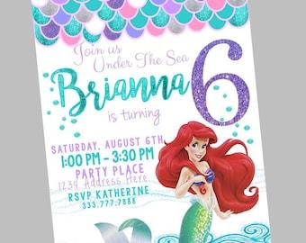 Little Mermaid Invitation, Glitter Mermaid Birthday, Little Mermaid Birthday, Under the Sea Party