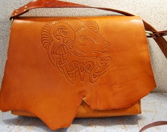 Celtic leather bag, Womens Crossbody Bag, Cosplay bag, Personalized Leather bag, Shoulder bag, Handmade bag, Brown crossbody bag, OOAK