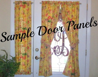 Sample Door Panels / Custom Rod Pocket Front/ Entry Door Panel & side light/ Sidelight Panels - Door Curtains