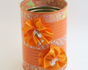 Recycled Tin Can in Orange with Ribbon Flowers for Use as a Pen Holder/ Desk Organizer
