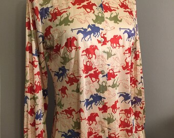Vintage western horse polyester blouse/Buttonup/Size:Small
