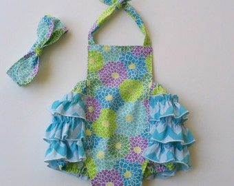 Baby Girl Clothing, Toddler Girl Clothing, Ruffled Romper Sun Suit with Matching Knot Headband