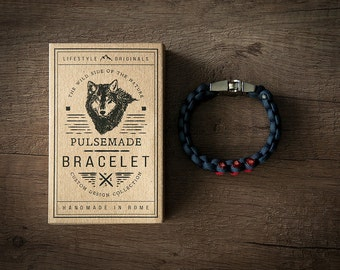Bracelet men-Woman Blue Ship///Imperial Red Unisex-Handmade Pulsemade paracord Mens-Womens navy blue///Imperial Red