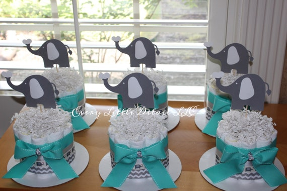 Items similar to elephant mini diaper cake bundle for Baby shower decoration packages