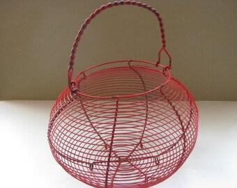 Vintage French wire egg basket, onion basket, fruit basket, kitchenware.