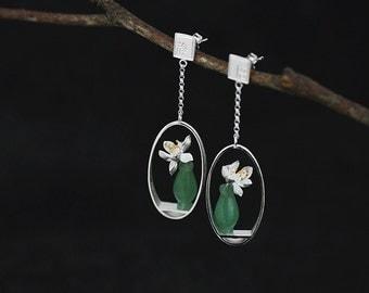 Silver Flower Vase Earrings Carving Bloom Lotus Green Gemstone Vase Oval Frame Earrings Chinese Style Handmade Jewelry Gift For Her