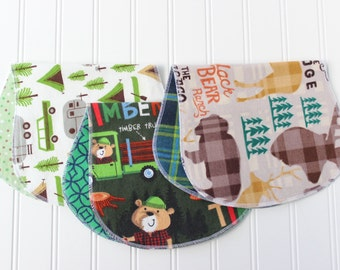 Baby Boy Burp Cloths - Set of 3 - Baby Shower Gift - Baby Gift - Woodland - Outdoors - Camping