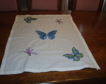 rectangular table runner embroidered butterfly and Dragonfly