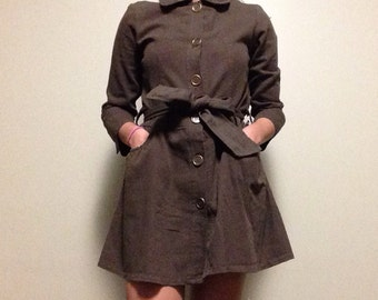 Brown Military Style Mini Dress // Tie Belt Button Up Dress