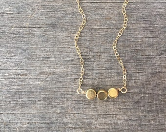 Brass Trio Necklace - Petite Necklace - Simple Necklace - Bridesmaid Necklace -Brass Beads - Gold plated Brass- Layering Necklace