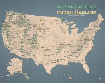 US National Forests Map 18x24 Poster