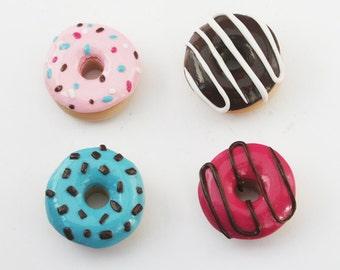 Donut Magnets, Doughnut Magnet Set of 4, Food Magnets, Miniature Food Magnets, Gift for Baker, Polymer Clay Magnet Set