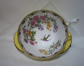 MIKADO Pattern AYNSLEY (England) TEACUP and Saucer -  Yellow Glaze,  1920's