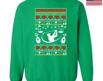 Ugly Christmas Sweatshirt Golf Design Ttd1