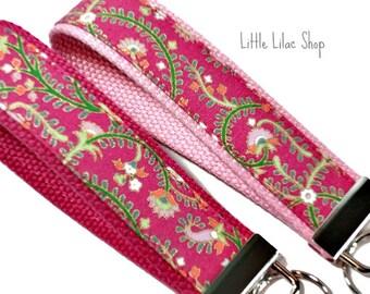Key Fob Wristlet, Fabric Key Fob, Fabric Keychain, Pink Floral Paisley, Key Holder, Key Chain, Key Chain Wristlet