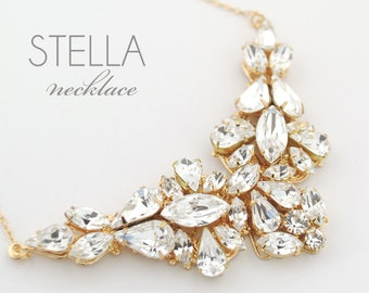 Statement rhinestone necklace - wedding jewelry necklace - gold wedding necklace - bridal necklace - gold bridal necklace - Stella necklace