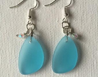 Blue Sea Glass Dangle Earrings With Glass Crystal Bead