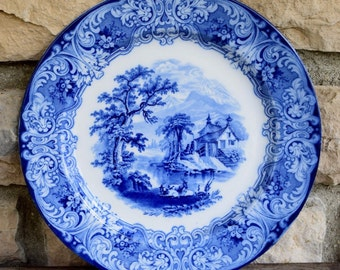 "RARE Antique Vintage Flow Blue Royal Doulton Geneva Pattern 13"" Serving Platter ENGLAND 1890"