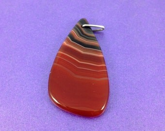 Vintage Agate Pendant, Banded Agate, Silver Bale, Pendant Drop, Amber Agate, 1970's Pendant