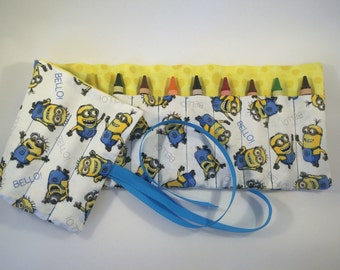 Minions Crayon Roll - party favor, kids gift, stocking stuffer, crayon holder, crayon caddy, crayon case, crayon organizer