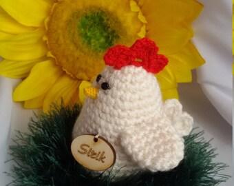 Easter hen Crochet home decor  Crochet Hen  Amigurumi Easter hen Stuffed chicken plush toy or holiday decoration.