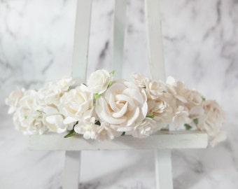 White flower crown - floral head wreath - headpiece - hair accessories - headdress