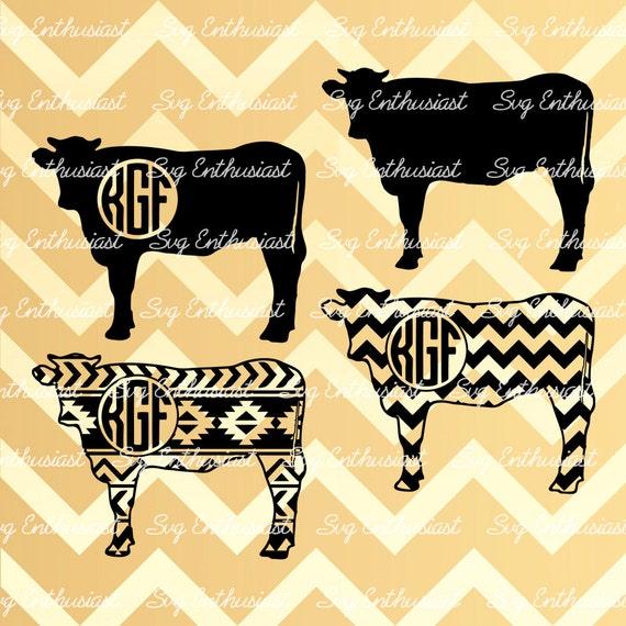 Cow Silhouette bundle SVG, Cow Monogram Frames Svg, aztec