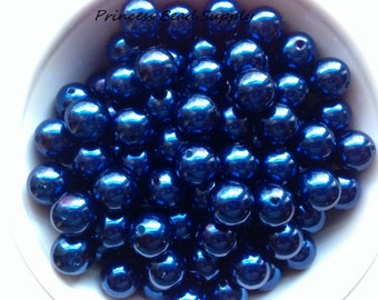 12mm Royal Blue Pearl Beads Set of 20 or 50,  Chunky Bubble Gum Beads, Gumball Beads, Acrylic Beads