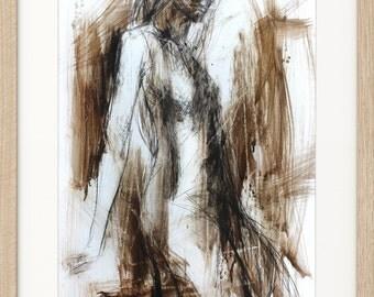 Woman sketch, Giclee print, Charcoal drawing, Woman Fine art print, Wall decor print, Figurative Artwork, Graphic art print, Expressionism