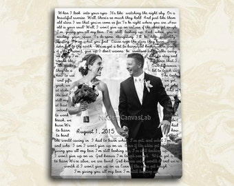 Cotton Anniversary Gift Canvas Wedding Lyrics, Text Behind, Wedding Canvas Photo Decor Words Vows lyrics, Anniversary or Wedding Art