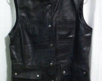 Super soft black leather High Fashion Vest - Great detail - Sz. 10