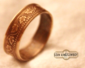 Canadian Penny Coin Ring sized and shipped free