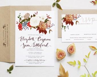 Autumn Rose & Berry Cluster Wedding Invitation