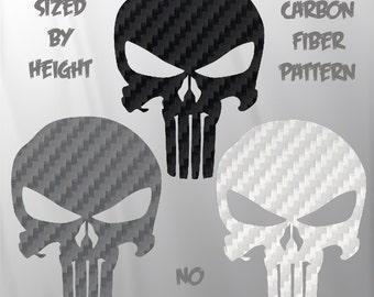 Punisher Skull Decal - Carbon Fiber Sticker - Choose Color & Size