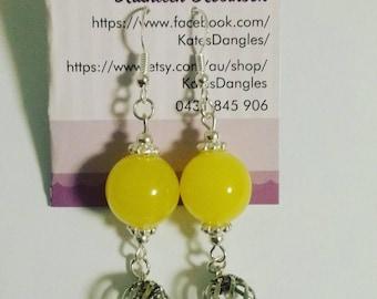 Yellow and silver earrings, dangle earrings, silver earrings