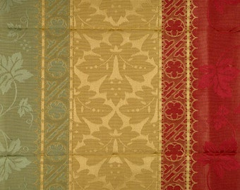SCALAMANDRE COLONY VERONA Rigato Stripe Damask Fabric 5 Yards Red Green Gold