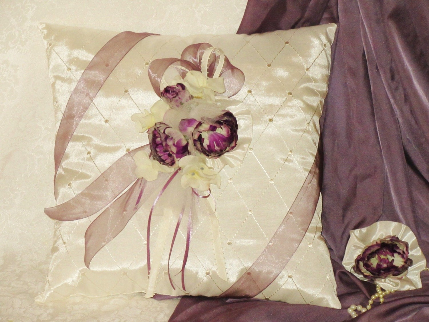 Ivory Lace Throw Pillow : Handcrafted Purple Plum & Ivory Accent Throw Pillow 16 x