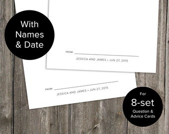 Custom with Names & Date for 8-set Wedding Question and Advice Cards - Printable Download