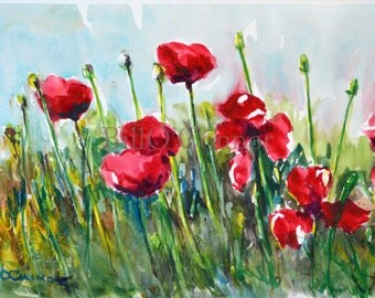 Red Poppies -Original Watercolor 10x15 in. Red Flowers, Painting by Bill O'Connor