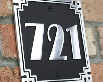 ArtDeco Style House Address Number Plaque. Solid Aluminium hand made to order in England.