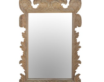 Bleached Indo-French Style Mirror; Carved wooden mirror; French mirror; Indian mirror, European mirror, bleached mirror, vanity mirror