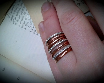 Multi bandeau wedding rings silver and copper ring