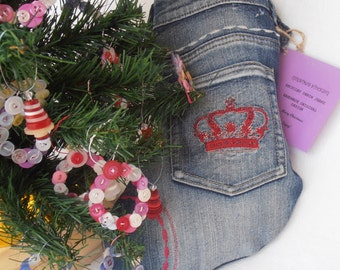 Recycled denim Christmas stocking with red crown embroidery
