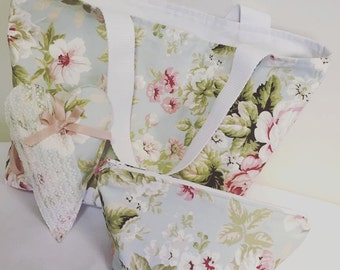 Floral Design Shabby Chic/Vintage Feel Tote Bag, Hanging Heart and Make Up Bag Gift Set