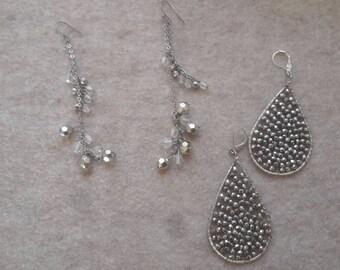 2 pairs Handmade metal/bead earrings