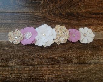Multicolored Paper Flower Maternity Sash