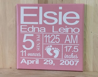 Birth announcement sign, birth stats, personalized sign, new baby sign, baby stats, custom wooden sign, gift for her, new baby gift