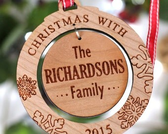 Personalised Christmas Family Wooden Acrylic Tree Decoration Round Bauble