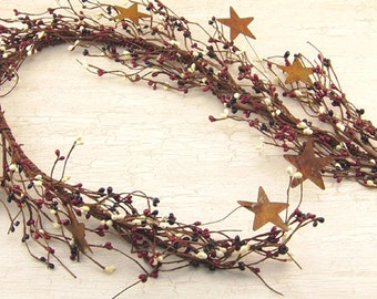 "Country Mix 40"" Pip Berry Garland with Rusty Stars"