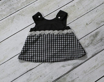 Pinafore Dress - Black Pinafore Dress - White Pinafore Dress - Black and White Dress - Girls Pinafore Dress - Girls Dress - Natalie Pinafore
